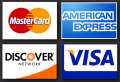 We accept MasterCard, VISA, American Express, and Discover